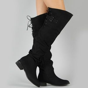NEW🔥Slouchy Lace-Up Over The Knee OTK Riding Boot